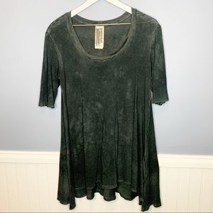 Free People Acid Wash Tunic Half Sleeves